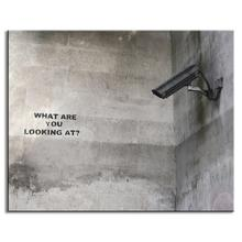 1 Pcs Banksy Art What Are You Looking At Paintings Print on Canvas Surveillance cameras Pictures Cheap Modern Paintings
