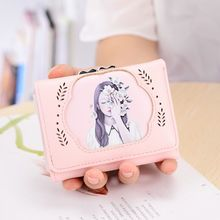 Beauty Girl Fairy Black Pink Blue Green Three Fold Wallets Card Holder Multifunction Coin Pocket Women Purse Sweet Lady Burses(China)