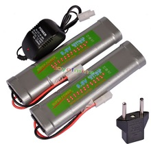 2x 9.6V NiMH 3800mAh Rechargeable Battery Pack Tamiya Plug + Charger Plug(China)