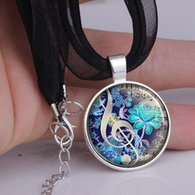Color of Music pendant necklace music teacher's gift music charm musicians gift treble cleff necklace music jewelry YLQ0122