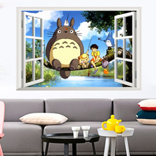 My Neighbor Totoro 3D Window Effect Art Decal Wall Sticker Mural Children's Kids Bedroom Decorative Home Decor Decal Poster