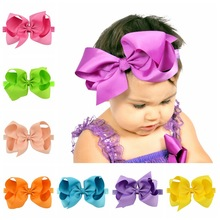20pcs/lot  6 Inch Large Kids Girl Plain Ribbon Bow Headband With Elastic Hair Accessories 665