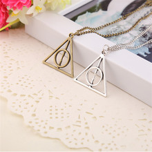 Deathly Hallows Necklace Vintage Antique Silver and Bronze Triangle Rotatable Pendants Necklaces For Men and Women