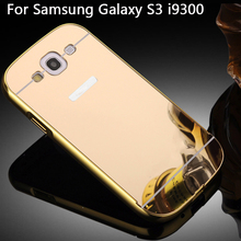 For Samsung S3 Mirror Case Aluminum Metal Mirror Back Cover Case for Samsung Galaxy S3 III S3 i9300 9300 Mirror Bumper Case