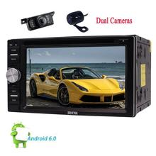6.2'' Android6.0 Car Stereo Double Din in Dash Car DVD Radio Video Audio Player with Bluetooth Wifi/OBD2/Screen+FREE Dual Camera