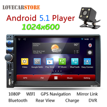 7 Inch Android 5.1 2 Din Bluetooth Car Radio Stereo Player Digital Touch Screen GPS Navigation + Night Vision Rear View Camera(China)