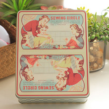 European Vintage Tin Box Mac Makeup Cosmetic Organizer Collectable Box Needle/Thread Box 1Pieces/lot Large Storage Cookie Box(China)