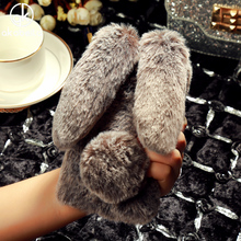 AKABEILA Rhinestone Rabbit Fur Cover For Xiaomi Redmi 4X Hongmi 4X 5.0 inch Fluffy Shockproof Cell Case Soft Silicone TPU Coque(China)
