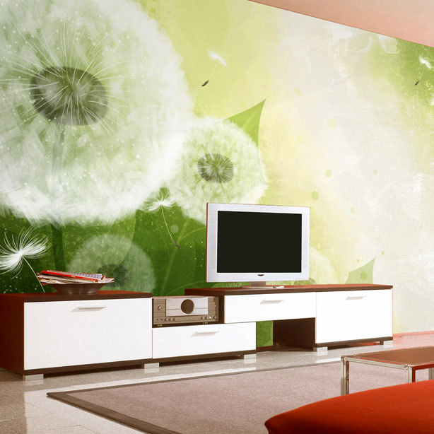 Free shipping TV background wallpaper the living room 3 D stereoscopic large mural bedroom dandelion green Custom Size<br><br>Aliexpress