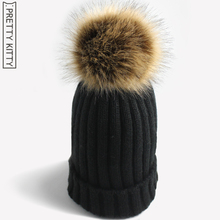 PRETTY KITTY 2017 Man-made  Pom poms fur warm winter hat for women girl 's knitted beanies cap