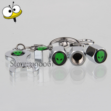 4 Pcs/set Car With Mini Wrench Keychain For Alien ET Logo Tire Valve Stems Caps Wheel For Chrysler FAW SsangYong Proton Yamaha(China)