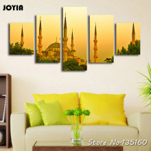 5 Panel Home Decor Wall Pictures Istanbul Turkey Dusk Landscape Painting Contemporary Canvas Art Prints For Houseroom (No Frame)