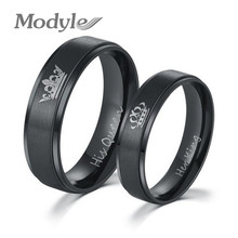 Modyle 2017 New Fashion DIY Couple Jewelry Her King and His Queen Stainless Steel Wedding Rings for Women Men(China)