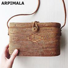 ARPIMALA Bali Island Rattan bag Small Handmade Straw Bag Instagram Popular Beach Bag for Women Crossbody Ata Handbag(China)