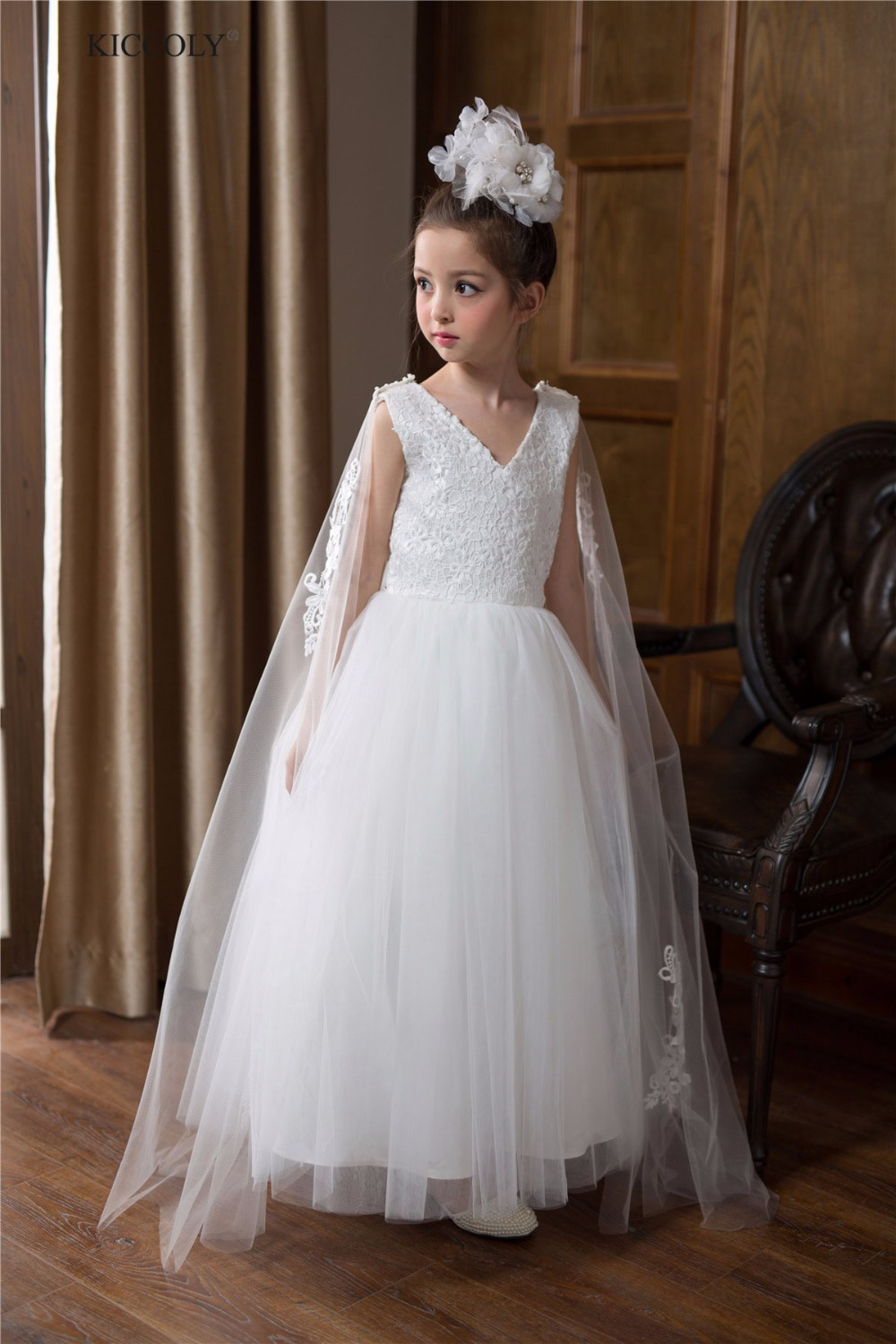 2018 White Girl Wedding Dress 5-14Y Teenager Summer Detachable Embroidered Shawl Ball Gown Kid Dresses for Wedding Party Dress<br>