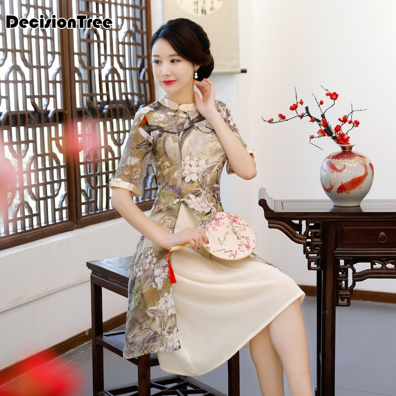 2019 summer Rayon Traditional Chinese Women Simple Dress Vintage Lady Floral Vietnam Aodai Qipao Summer Sexy Short Cheongsam