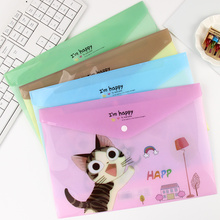 1PC Kawaii Cats Pattern PVC Document Bag Candy Color File Folder Bag School Office Stationery Supplies