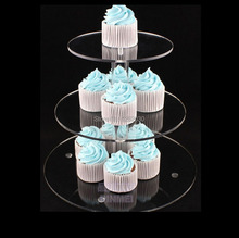 3-tier cup cake stand round cupcake stand Suitable for wedding and party 3 tier white clear cupcake stand Free shipping(China)