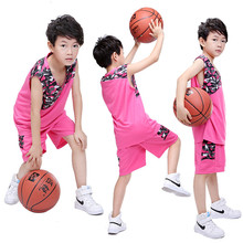2017 Kids Basketball Jersey Sets Uniforms kits Sports clothes Breathable Youth throwback jerseys basketball Pants DIY printing