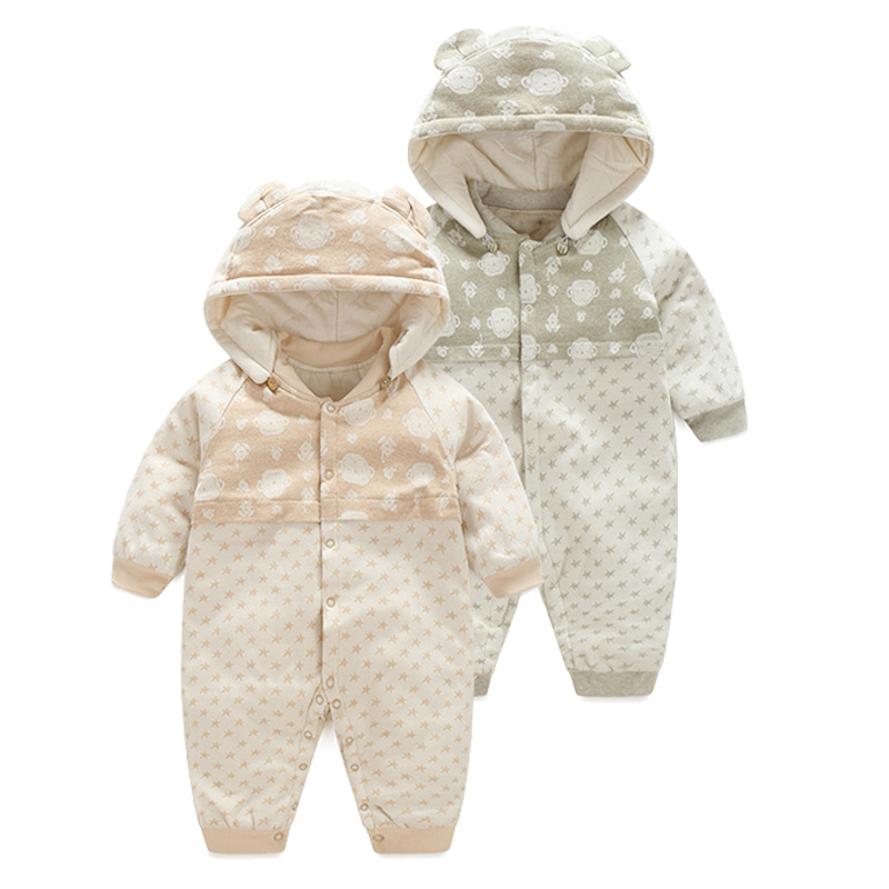 2017 new winter romper infant baby hooded jumpsuit baby girls print romper baby boy warm thick outwear clothes<br><br>Aliexpress