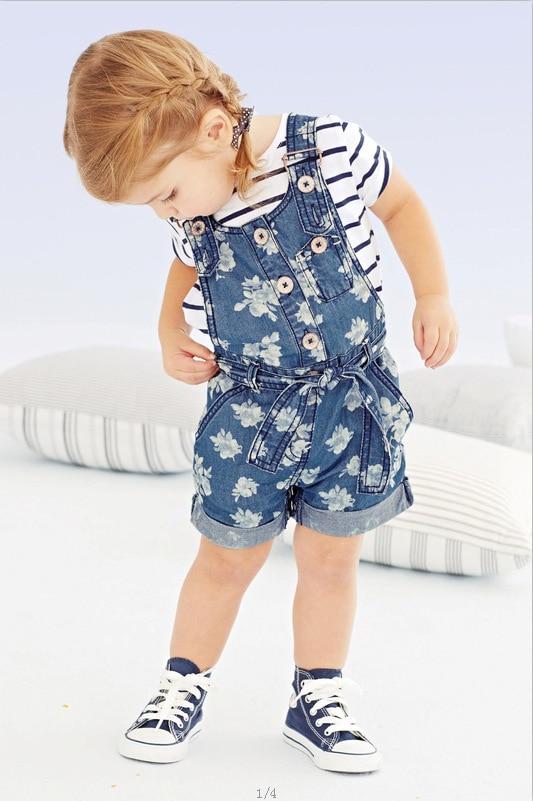 2017 summer new girl striped short sleeve T-shirt + strap shorts jumpsuit 2 sets of childrens clothing roupas infantis menina<br><br>Aliexpress
