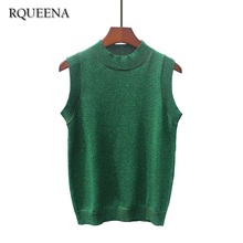 Rqueena Korean Sexy Bright Silk Summer Wear Short Type Small Camisole O-Neck Solid Color Knitted Viscose Woman Tank Tops Vest