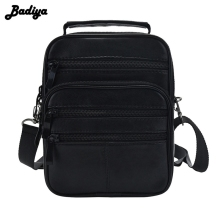 Genuine Leather Men Messenger Single Shoulder Bag Crossbody Pack 4 Size Black Handbag Multi-functional Portable Bags Male Bolsa