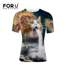 FORUDESIGNS Fashion Space/Galaxy Men/Women Brand T Shirt Funny T-shirt 3D Super Power Cat Jetting Water Top Tees for Male S-XXL(China)