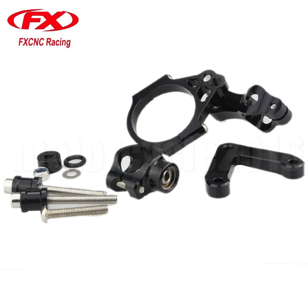 Adjustable Steering Stabilize Damper bracket Mount kit For DUCATI 848 2008-2010 2009  T6061-T6 Aluminum One set Black CNC FXCNC<br>