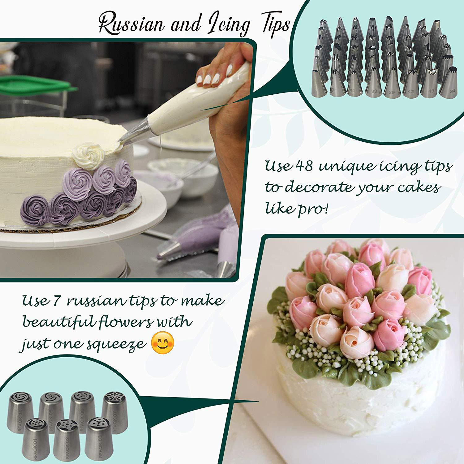 Russian Piping Tips Set 48 Pcs Cake Cupcake Decorating Supplies Kit Flower Frosting Tips 12 Icing Nozzles-2 Leaf Tips-3 Couplers-28 Pastry Baking Bags-User Guide LFVIK