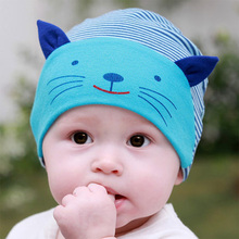 DreamShining Cotton Baby Hat Lovely Cat Stripe Beanie Cap Winter Toddler Infant Newborn Kids Cap Boys Girls Hats Accessories(China)