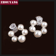 ZHOUYANG ZYE017 Elegant 5 Imitation Pearl Silver Color Stud Earrings Jewelry Made with  Austrian Crystal Wholesale