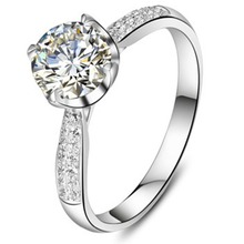 1:1 Propose Ring 925 Silver New Arrival Design Jewelry 1CT SONA Diamond Jewellery Women Engagement Surprise for Bride