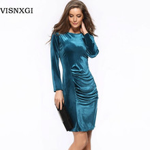 Hot New 2017 Fashion Women Spring Dress Pure Color Soft Casual Gold velvet Dresses Long Sleeve Casual Sexy Line Vestidos S118(China)