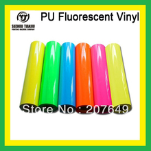 "TJ T shirts PU Fluorescent Heat Transfer Vinyl 0.5*25meter(20""X984"")/roll one roll HOT SALES"
