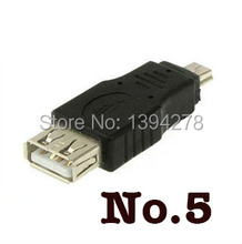 Free Shippping Black Female USB 2.0 A to Male Mini 5 pin B Adapter Converter USB cable For MP3 MP4 300Pcs/Lot Wholesale(China)