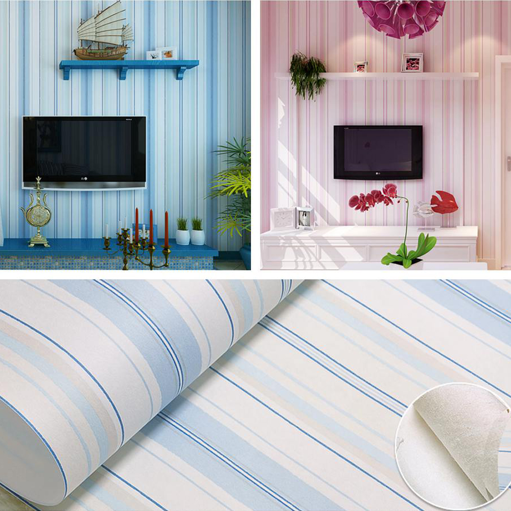 Child wallpaper striped wall paper for boy and girl bedroom wallpaper non woven fabric PVC wall paper pink and blue<br><br>Aliexpress