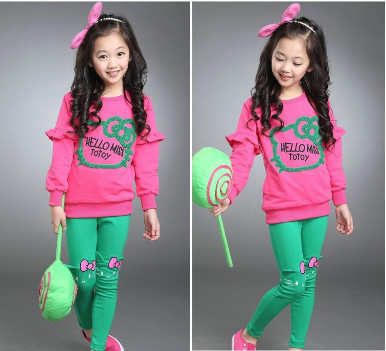 junior girls clothing sets candy color girl tracksuit cartoon hello kitty girls clothes sets baby clothing for girls<br><br>Aliexpress