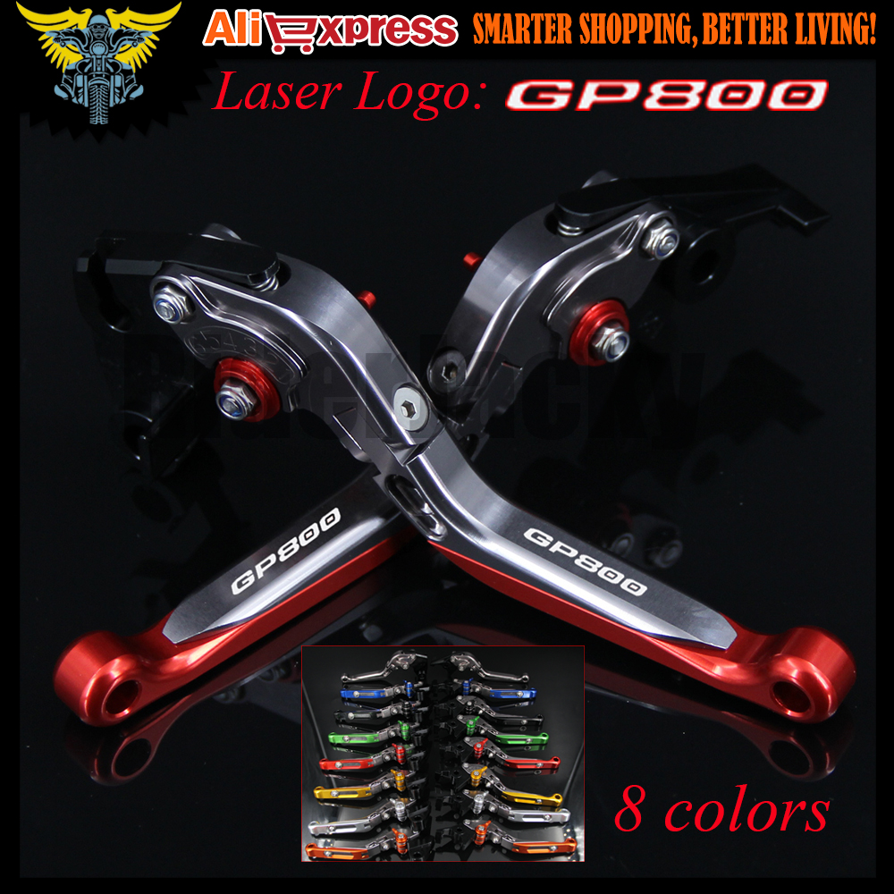 Laser Logo Red&amp;Titanium CNC Adjustable Folding Extendable Motorcycle Brake Clutch Levers For GILERA GP 800 GP800 2007 2008 2009<br>