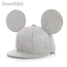Cute!! Big Ears Caps For Boys Girls Thick Baseball Hat Kids Snapback Hats Children Unisex Hip-Hop Cap Cotton Casual Sun Hats