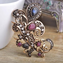 Wholesale Vintage Flower Corsage Brooch Aryclic Stones Brooches Pin Turkish Jewelry Flower Women Brooch Hair Wedding Accessories