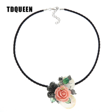 TDQUEEN Vintage Flower Necklace Natural Shell Women Fashion Necklaces Pendants Heart Shape Necklaces Collares Collier Jewelry(China)