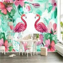 Beibehang пастырской Фламинго обои для стен 3 D спальня гостиная ТВ фон росписи стены документы домашнего декора wallpaper-3d(China)