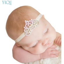 ROMIRUS Modern 2017 New Baby Girl Hair Accessories Crown Headband Crystal Pearl Princess Toddlers Infant Photography Props Feb22