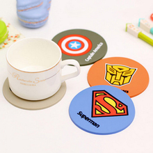 Free Shipping 4 pcs/lot Super Hero Coaster Silicone Cup Mat Placemat For Table Mug Cup Dining Accessories Novelty Households