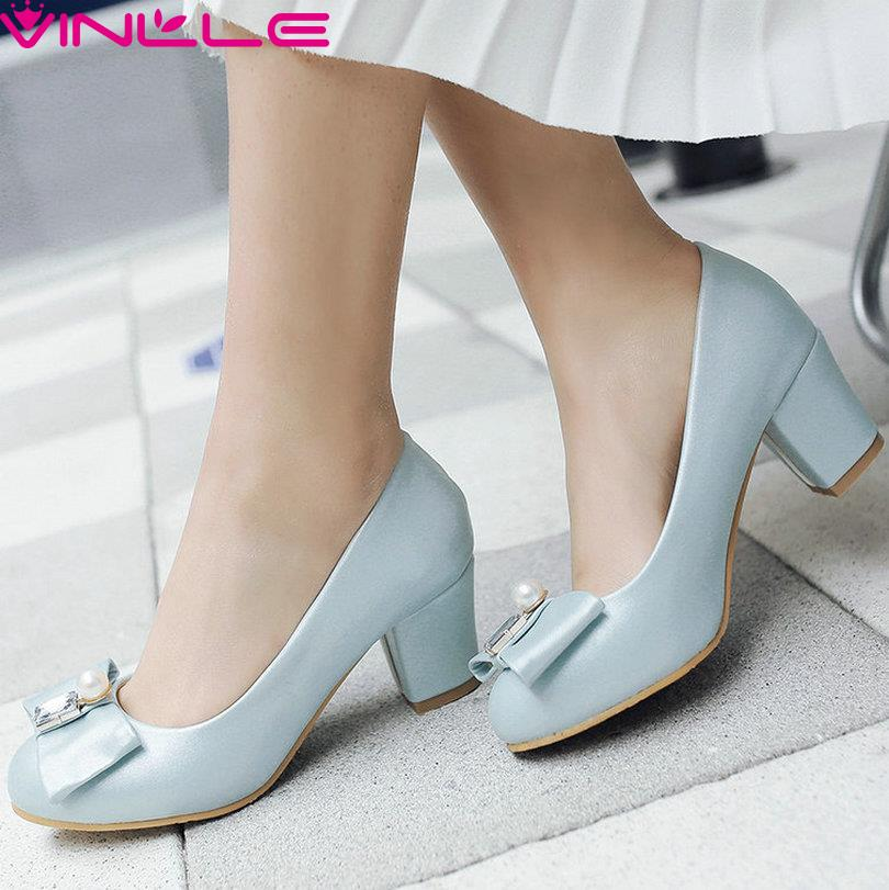 Blue Size 12 Round Toe Bow Tie PU Woman Pumps Sweet Dating Shoes Women Square High Heel Slip on Wedding Shoes White Pink 6 CM<br><br>Aliexpress