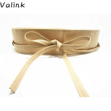 Valink 2017 New Fashion Women Belt Soft PU Leather Wide Self Tie Wrap Around Waist Band Dress Belt