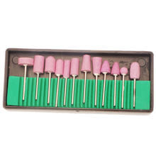 "Hard 12Pcs Ceramic Nail Drilling Bits for Nail Drill Machine with Box Professional Bits Drill Kit 3/32"" Different Sizes"