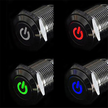 Vehicle Car Accessories 12V 16mm LED Power Push Button Switch Silver Aluminum Metal Latching Type