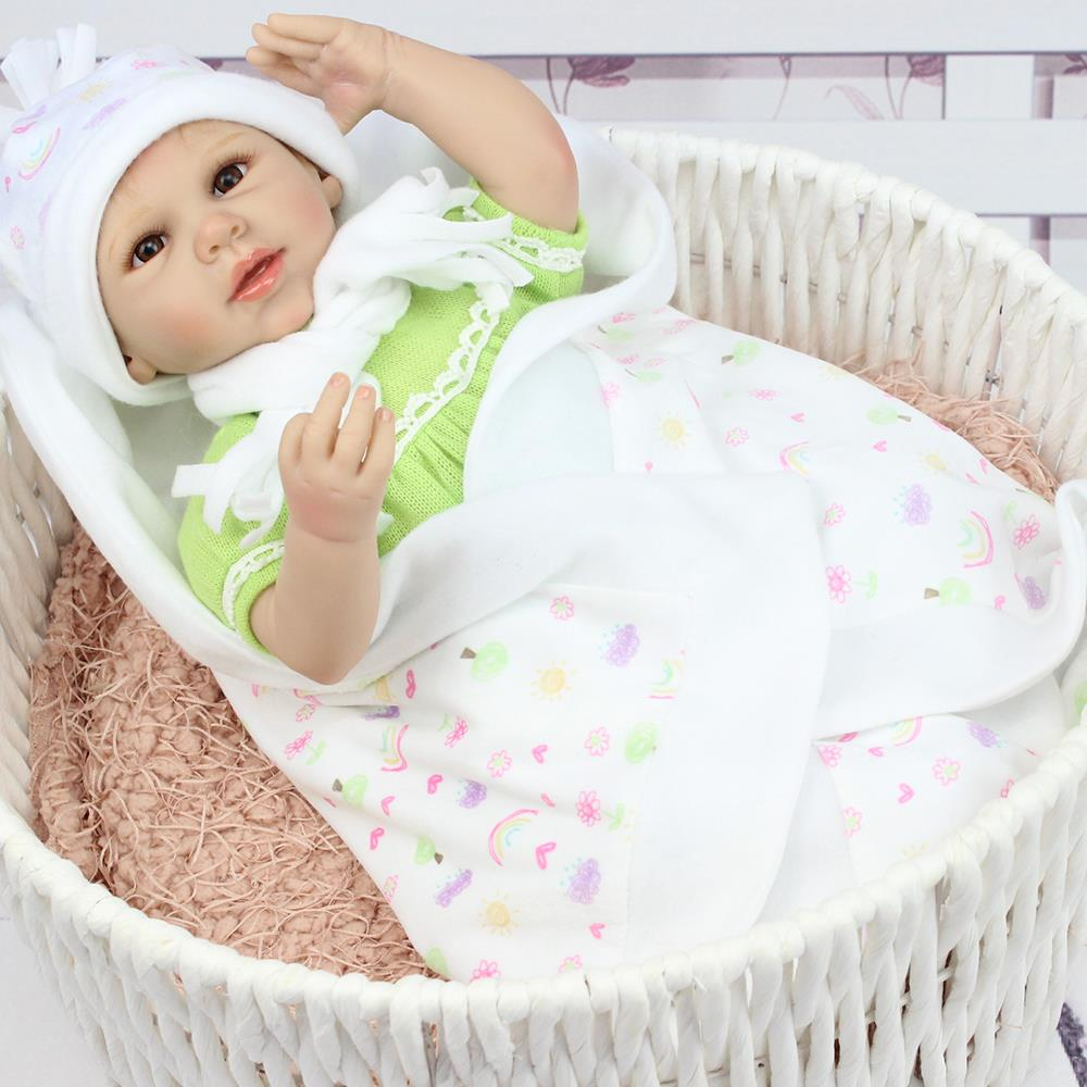 UCanaan 40-50 cm Handmade Silicone Reborn Baby Doll Soft Touch Body Best Gift Toys For Child Baby Reborn Dolls with Hat<br><br>Aliexpress
